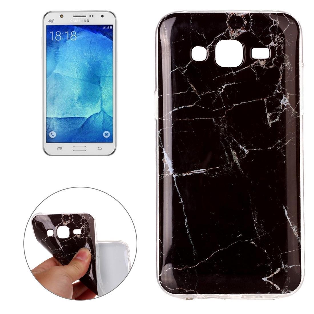Por padrão Galaxy J5 / J500 Preto Marbling caso capa Voltar TPU protetora