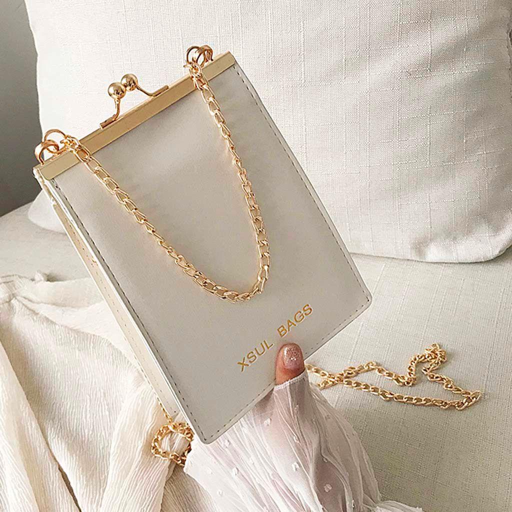 Designer Purses And Handbags Tote Fashion Solid Shoulder Bag Chain Leather Handbag Clutch Bag Casual Diagonal Color Women #3 Baamh