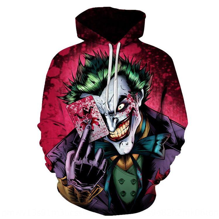 1s8Xy 8C495 3D-Muster Clown lässig Poker Anzug gedruckt mit Kapuze Pullover 3D-Poker-Muster Clown Joker Klage beiläufige Mantel mit Kapuze gedruckt Joker Mantel