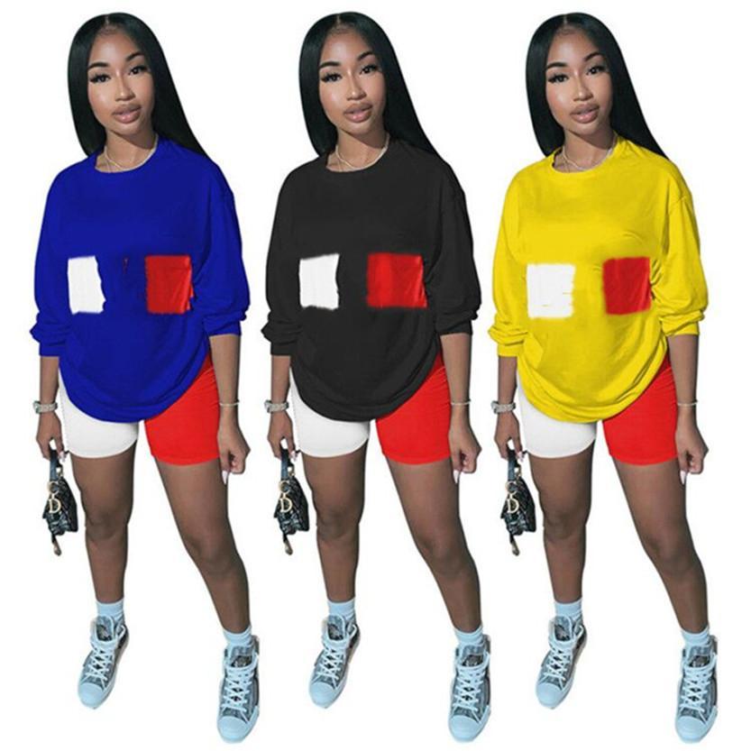 Plus size Sommer Frauen Anzug Outfits Jogging fallen Wintersport zweiteiligen Satz Langarm-Pullover-Sweatshirt Shorts lässige Sportswear 3537