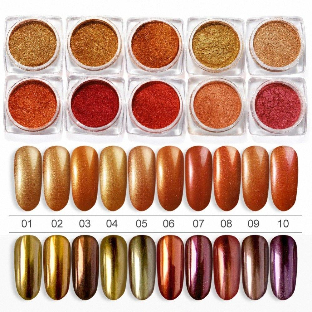 Rose Gold Ayna Tırnak Glitter Toz Krom Pigment Toz Shinning Glitters Manikür Tırnak Sanat Jel Polonya Süsleri Yd5q #