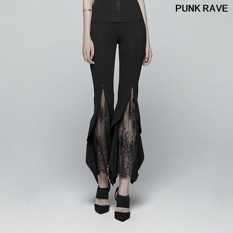 Готический Викторианский оборками выдалбливают Stretch трикотажные брюки вскользь партии Flared шнурка женщин черные брюки PUNK RAVE WK-347DDF