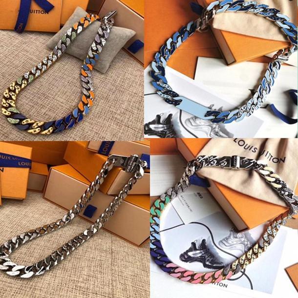 9style Mode Hommes 316L titane Collier acier CHAIN LIENS BANCS gravent à quatre feuilles fleur de couleur émail or 18K épais bracelets bijoux