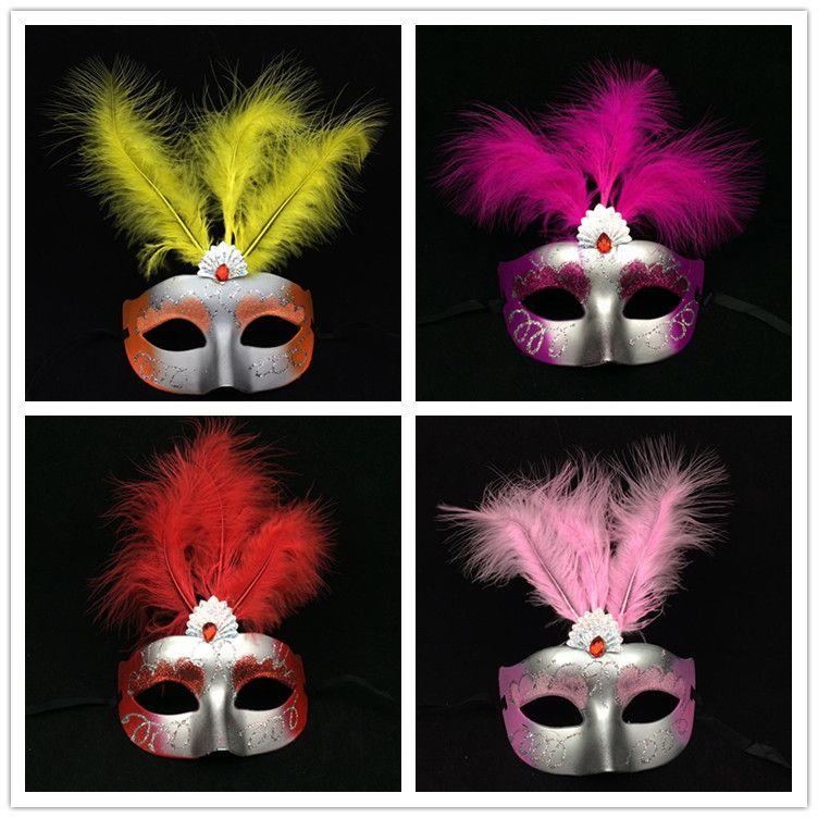 화려한 깃털 마스크 가장 무도회 베네치아의 당사자는 절반 얼굴 섹시 한여자가 마스크 카니발 마디 그라 의상 믹스 컬러 마스크 마스크