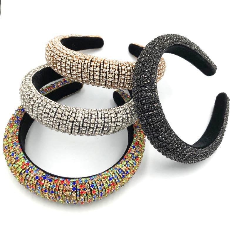 Barock voller Diamant Luxus Stirnband Verdickung Schwamm Rhinestones Haarband 5 Farben Frauen Großhandel