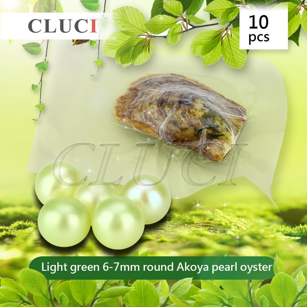 CLUCI grado 10pcs 6-7mm Akoya Verde chiaro perle nelle ostriche, Perline rotonde colorate per i monili che fanno T200507