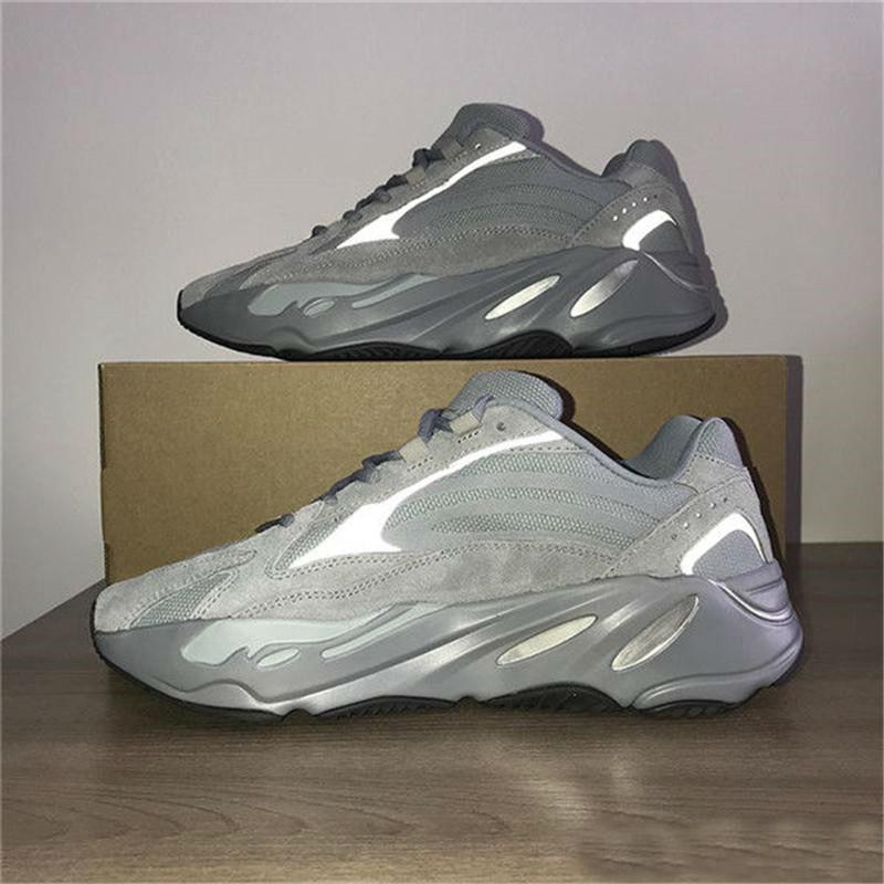 Продажа 700 Wave Runner Kanye West Carbon Teal синий твердый серый Vanta Инерция Статическая кроссовки Магнит тефру лиловый Мужчины конструктор