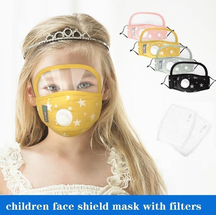Maschera per il viso con maschere Occhi scudo protettivo lavabile in cotone Mascherina Con Valvola dello sfiatatoio del PM2.5 filtri antipolvere Maschere Maschera Designer DHC720