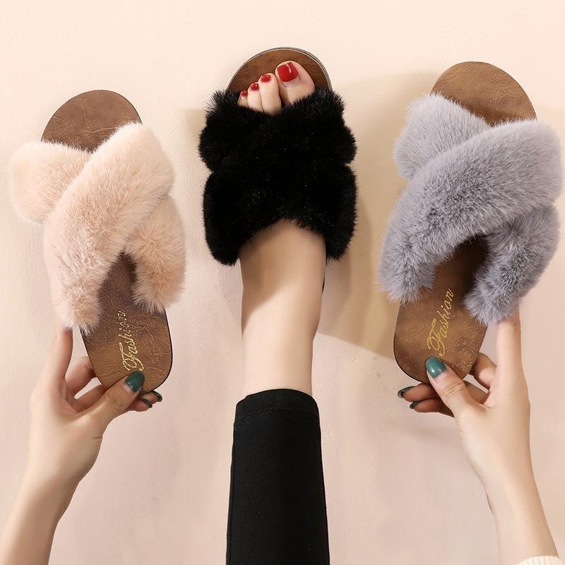 Summer Breathable Slippers Women Faux Fur Furry Slippers2020 Cute Plush Flip Flops Fashion women shoes Outdoor Slippe
