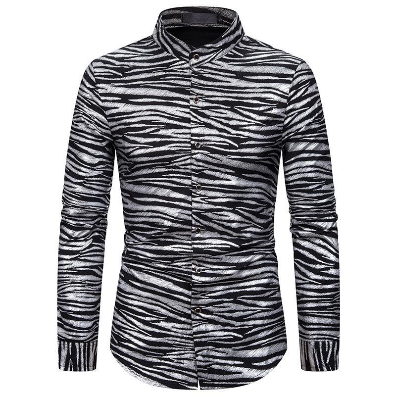 Мужские повседневные рубашки Zebra Striends Print с длинным рукавом крутые мужские 2021 уличные одежды платье рубашки мужчины Camisa Masculina плюс размер