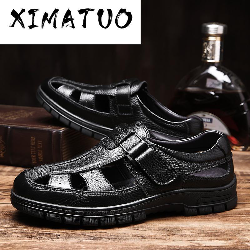 sandálias mens sandálias de verão de couro clássicos buracos caminhada curta artesanal romanos ao ar livre sapatos vestir plataforma sandalia masculina