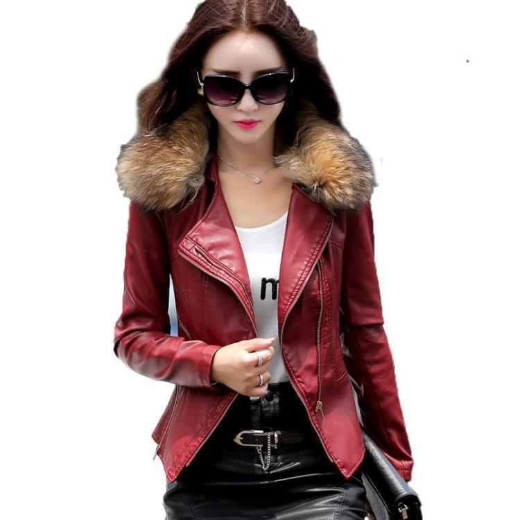 Gerçek kürk yakalı deri ceket kadın ceket kadın 2016 ilkbahar sonbahar kırmızı Artı dış giyim Coat moda kat parka boyutu 4XL kadınlar