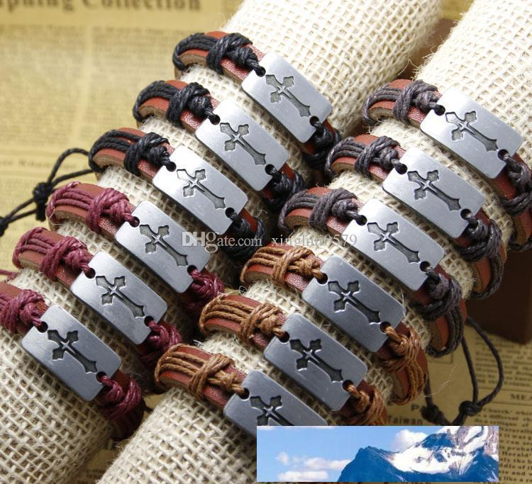 Mode Querhandgemachte preiswerter Preis Großhandel Leder Geflochtene Armbänder und Armbänder Herren Armbänder Frauen Schmuck