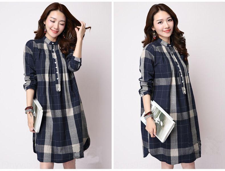 dimensioni v999i Pbft7 e stile autunno Nuovo Corea grande 2020 di cotone allentato delle donne del cotone e abito camicia di lino molla del vestito a quadri di media lunghezza lungo