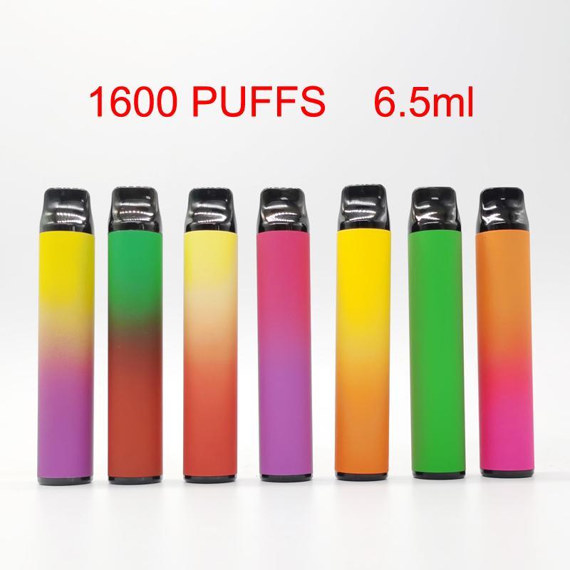 XXL Tek Cihaz Vape Kalemler 6.5ml Başlangıç Setleri Vaporizer Kalemler Ecigs Setleri 10 Renkler 1600 Vape Kalemler Kutusu Custom Made in boşaltın Packaging