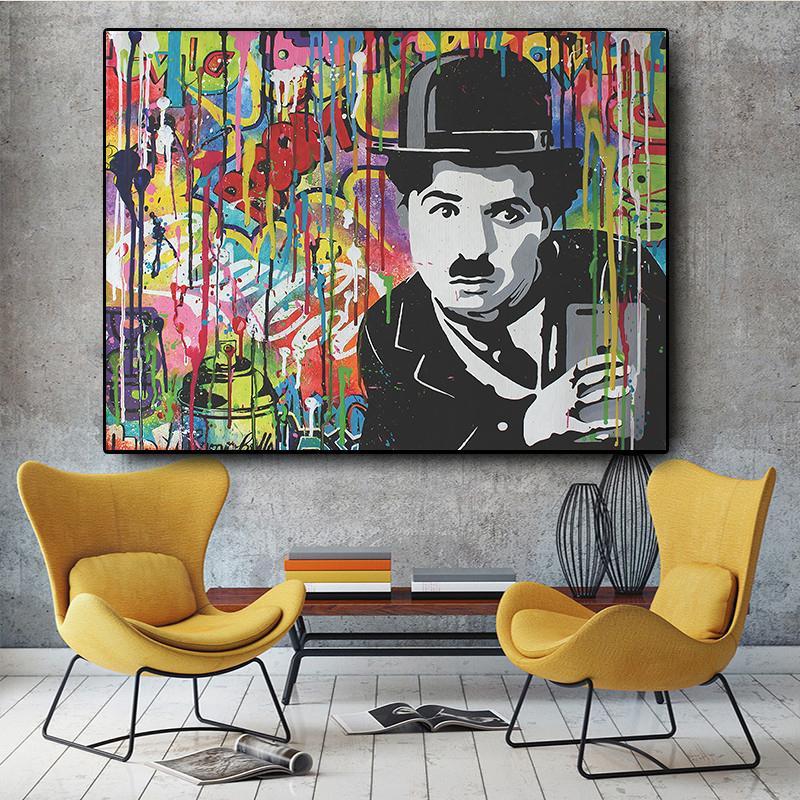 Abstrakter Leinwand-Malerei Poster und Drucke Chaplin Graffiti Street Art Cuadros Pop Modern Wall Art Bild für Wohnzimmer