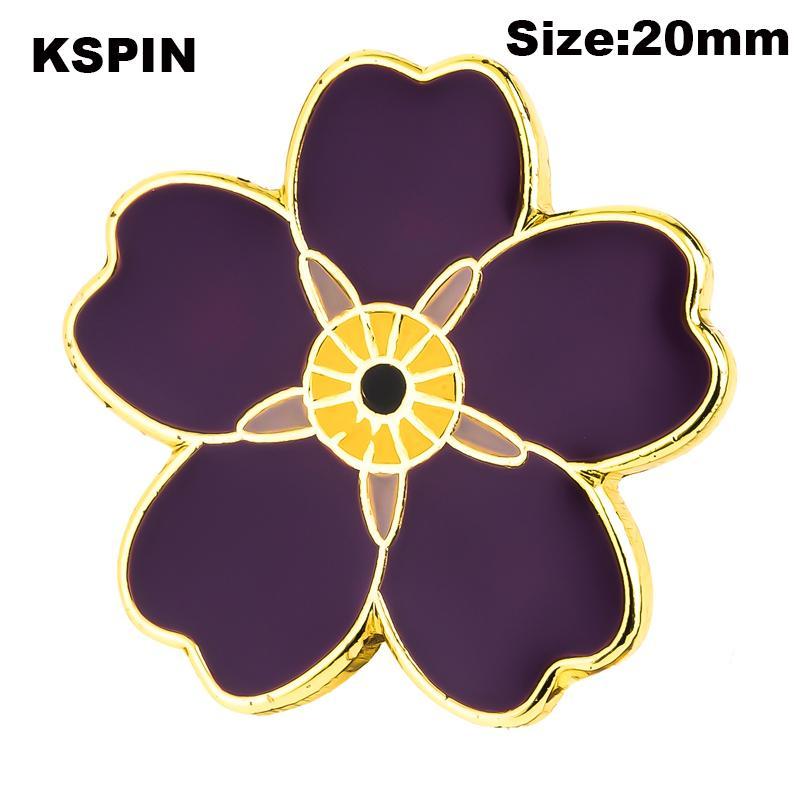 Фиолетовый цветок Значки отворотом Pins Броши