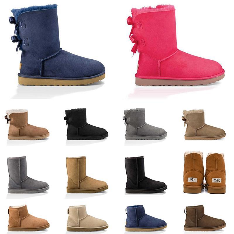 2020 avustralya kadın çizmeler kestane pembe lacivert kar botları siyah moda klasik ayak bileği kısa çizme bayan kış ayakkabı