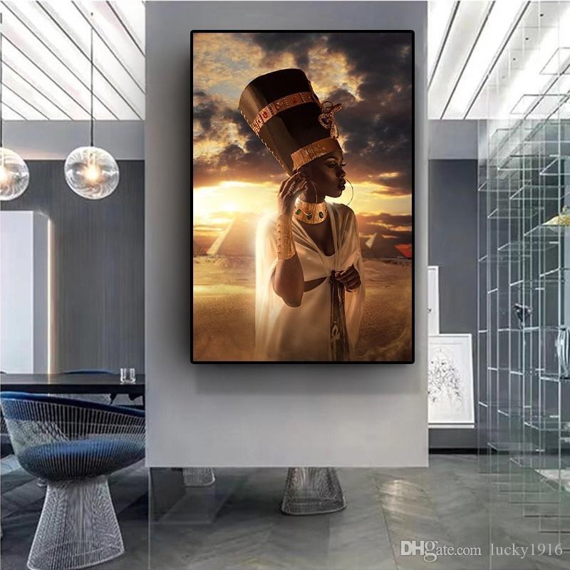Mode Noir Or Toile Femme africaine Peinture à l'huile Coucher du soleil Prints Wall Art Image pour le salon Maison Décoration murale
