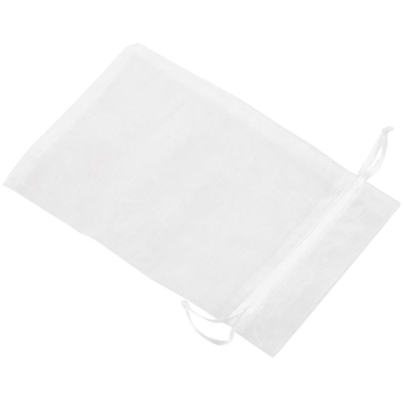 Saten Organze Düğün Ziyafet Hediyeler için Dantel Çanta (Beyaz, 50 Set)