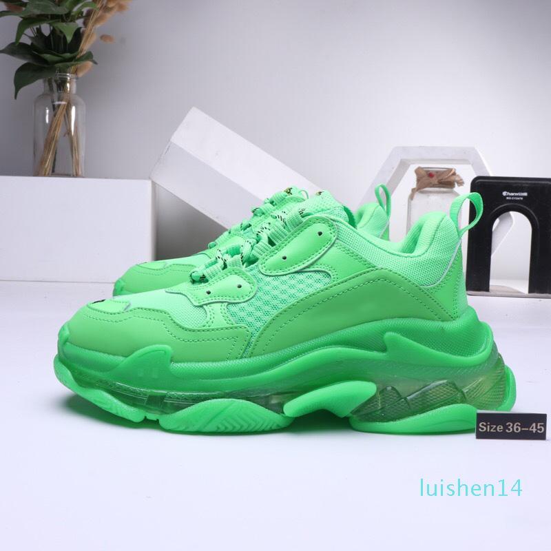 2019 Paris Triple-S 17FW Zapatos de Cristal papá inferior de lujo verde Plataforma Triple S para hombre de las zapatillas de deporte de las mujeres de la vendimia viejo abuelo entrenador L14