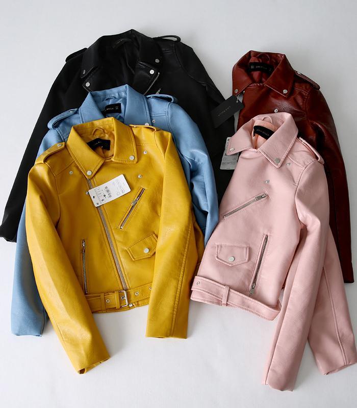 das mulheres Za clássico Jaqueta de couro Brasão 5 Color Casacos Y190827 Brasão Manga comprida amarelo Pu
