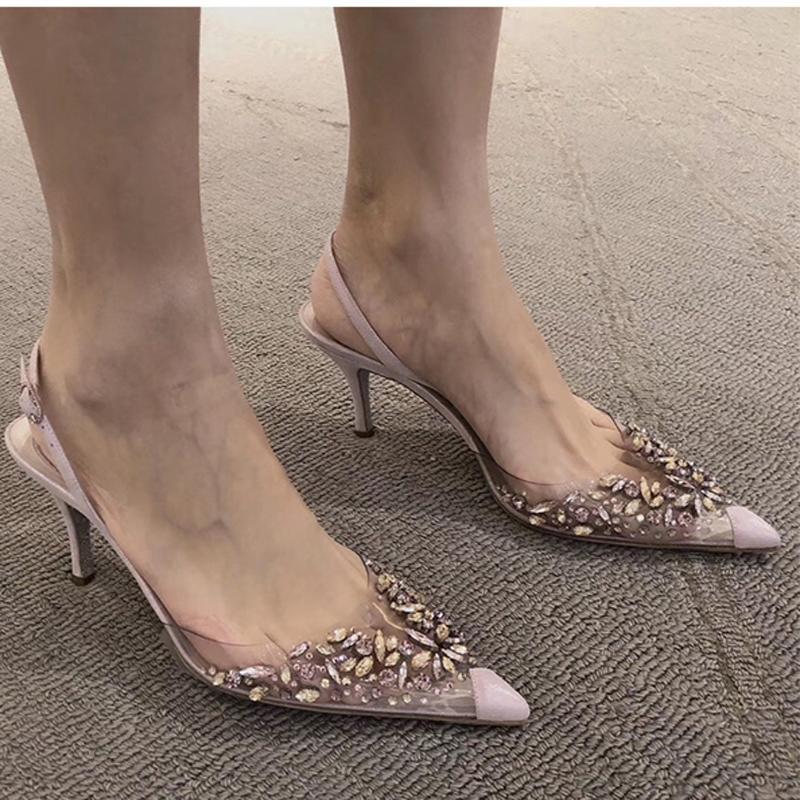 Zapatos de cristal señora de las mujeres sandalias Cristal Decor tacones altos 7.5cm PVC transparente punta estrecha Zapatos abiertos Zapatos De Mujer Hembra