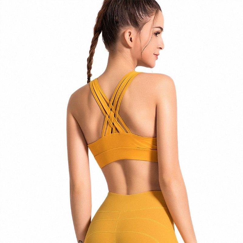 Femmes Yoga Sport Soutien-gorge rembourré Brassiere respirant Athletic Gym Fitness Course Gilet Yoga Tops Sport Push Up sport EÜRP #