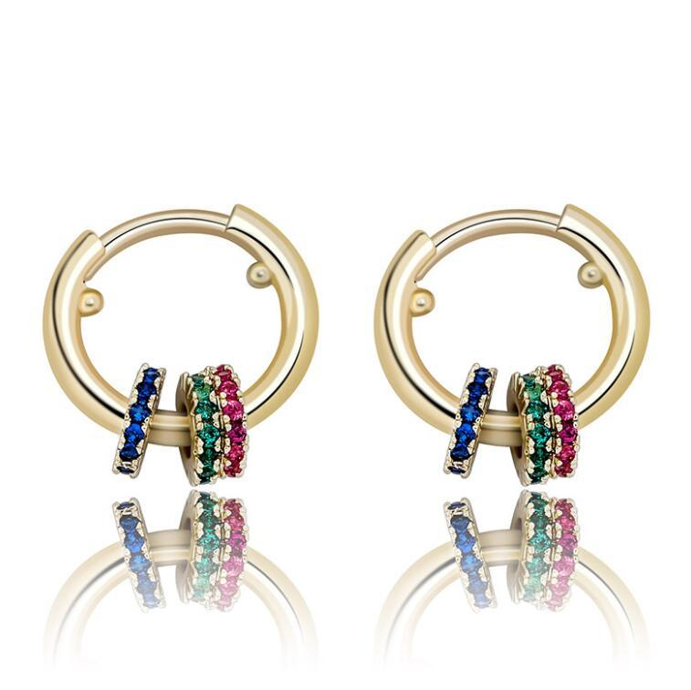 Новые Три кольцо персонализированных цветов цирконий серьги для мужчин и женщины, хип-хоп simplicit женщин серьги обруча