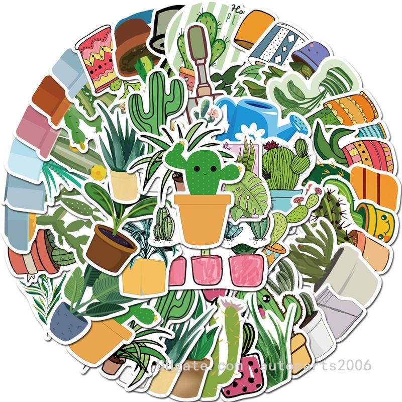45pcs / lote Venta al por mayor VSCO Lindo acuarela Cactus y plantas suculentas pegatinas Etiqueta engomada de las plantas verdes para las niñas Regalos Cuadernos Equipaje de equipaje