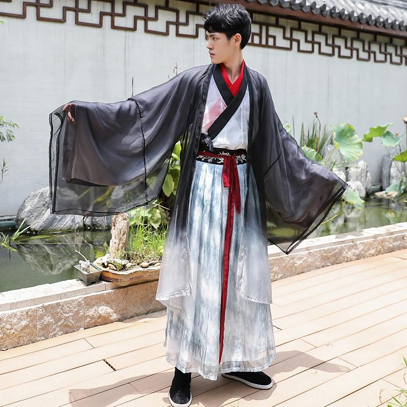 Chinese style ink painting Dance dress couple Chinese ancient costume graduation dress dance group costume big sleeve suit