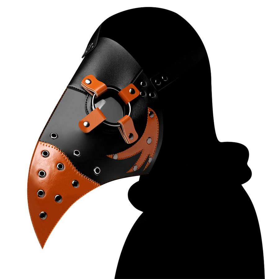Halloween 2020 Pu 2020 PU Plague Doctor Mask Leather Patchwork Medieval Headgear