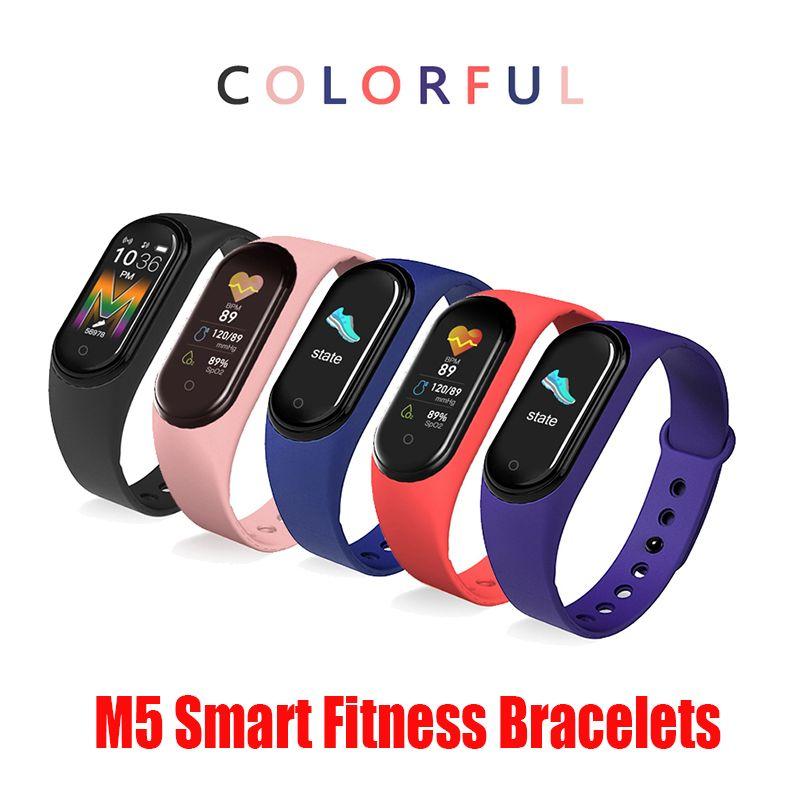 Pulsera de reloj de la aptitud del deporte M5 Banda Rastreador pantalla colorida de tensión inteligentes ritmo cardíaco sangre SmartBand Monitor de pulsera de la Salud