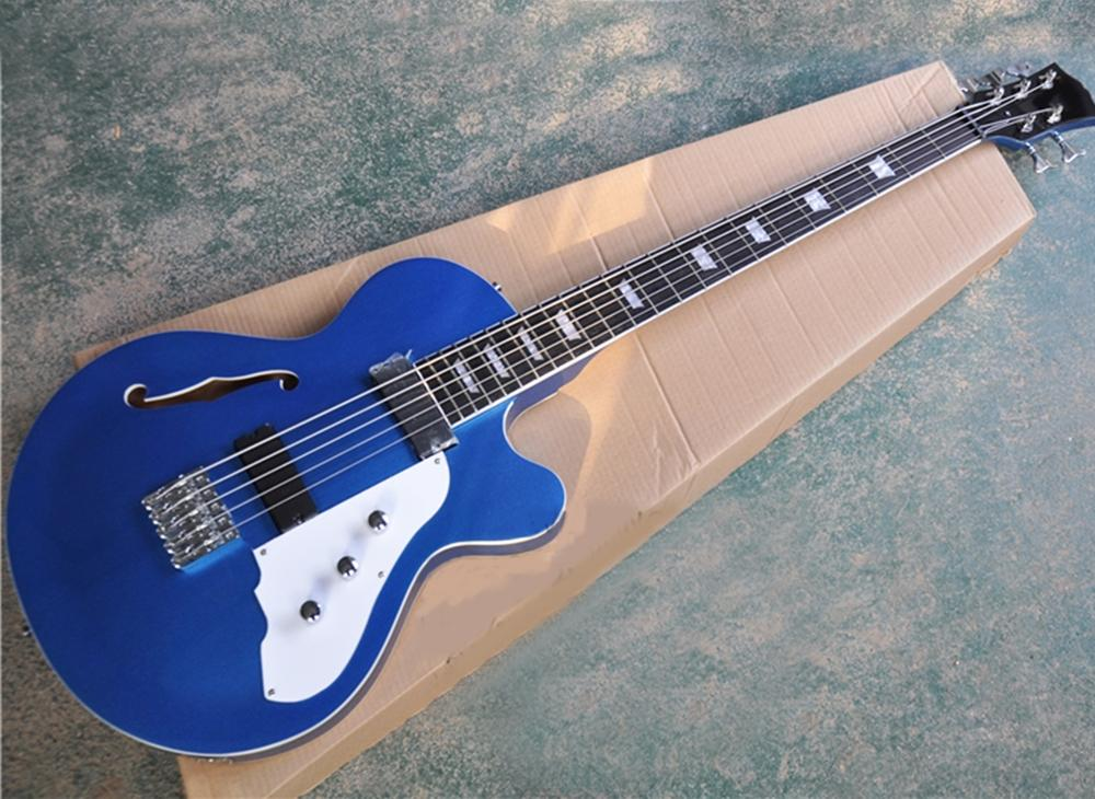 Envío gratis 5 cuerdas Guitarra eléctrica azul metálica con cuerpo semi-hueco, picaguardia blanca, diapasón de palisandro con encuadernación negra