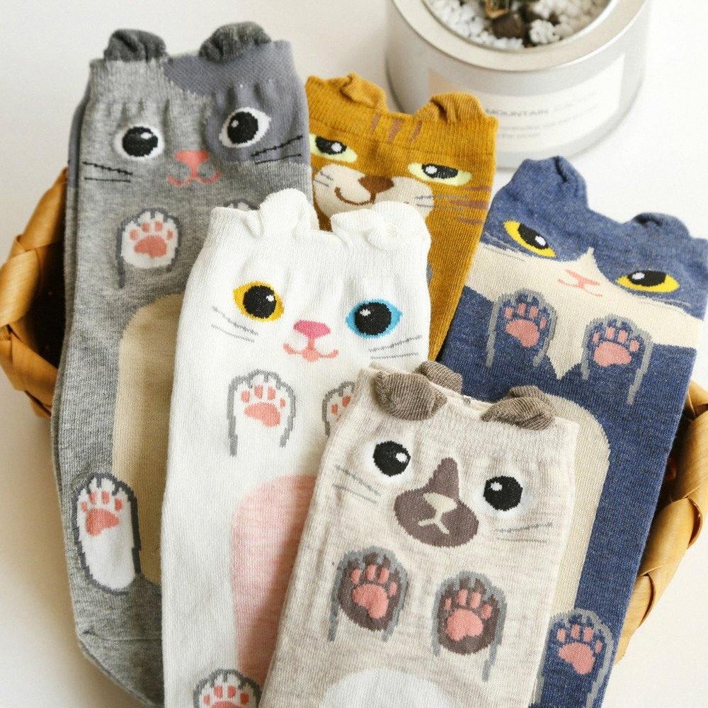 Nuevo modelo lindo Orejas de Gato calcetines cortos de las mujeres encantadoras de la historieta 3D de los animales del zoológico calcetines de algodón suave niñas calcetines calientes # 25 # 7NKe