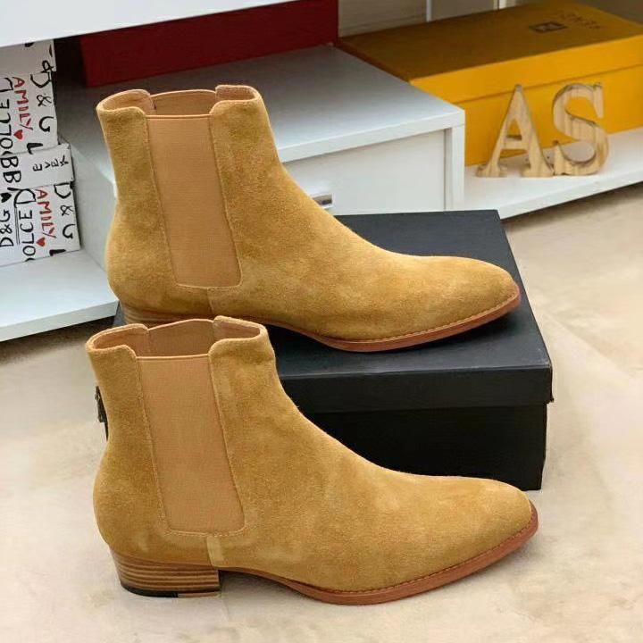 Горячая продажа-2020 Классический Wyatt Ботильоны Западный стиль Черная кожа Motorcylcle сапоги Мужчины Gentlemen обувь осень зима