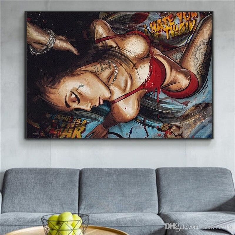 Salon Modern Ev Dekorasyonu için Özet Duvar Resmi Boyama Duvar Sanatı Büyüleyici Kadın Posterler ve Baskılar Graffiti Seksi Kız Şekil Yağı