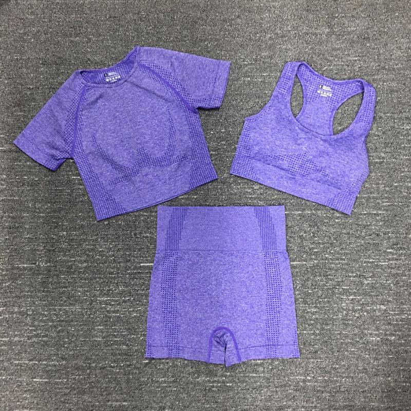 Vital Seamless Yoga Set Frauen-Gymnastik-Trainings-Kleidung Sport-BH + Short Sleeve Fitness Crop Top + High Waist Shorts Sport-Klage 3Pcs