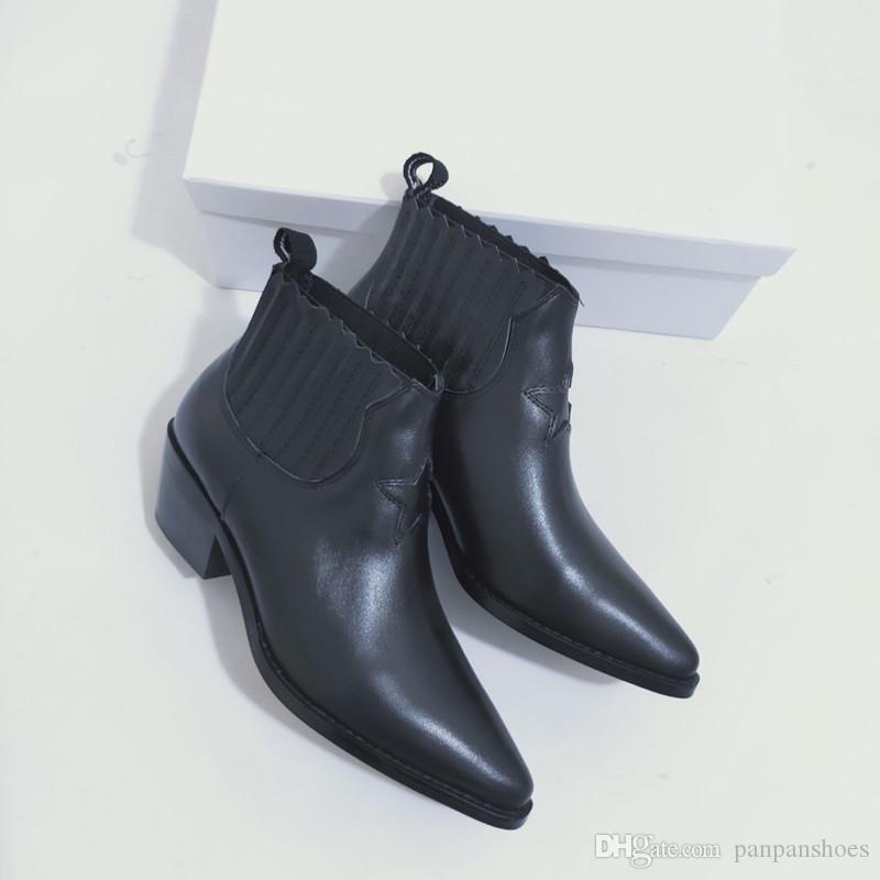 Designer de luxo Womens tornozelo do salto alto do outono inverno botas de couro de vaca sapatos ks19090302