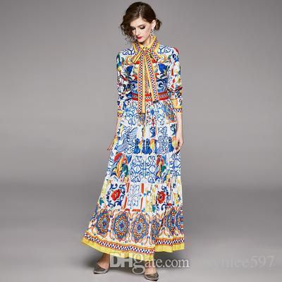 2020 vestido de la manera elegante de la vendimia, Primavera de Nuevos vestidos de impresión, Señora y Niña de Sliming y plisado falda larga