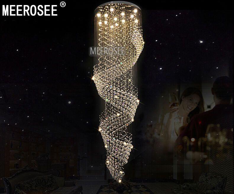Современные Длинный Размер Крите светильник для Lobby Лестничного Luster, лестниц, фойе Большого хрустального потолочного Lmap для свадебного банкета