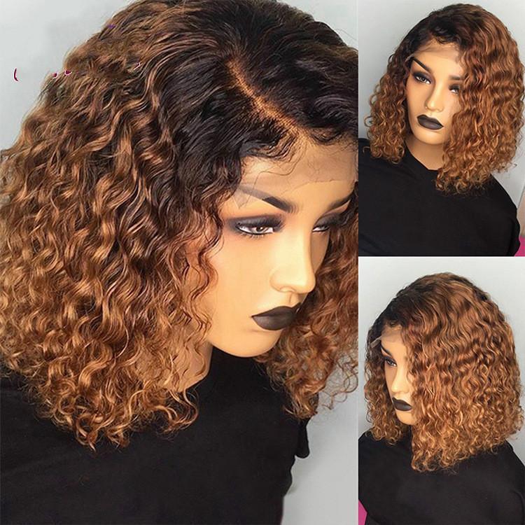 Alice 1B / 27 Ombre Rengi Kısa Kıvırcık BOB Peruk İnsan Saç