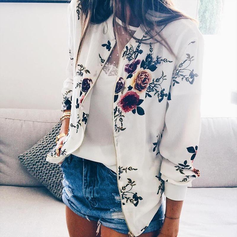 2020 осень и зима O шеи Цветочные печати Zipper женщин вскользь куртки Плюс Размер сплошного цвета с длинными рукавами Сыпучие Coat