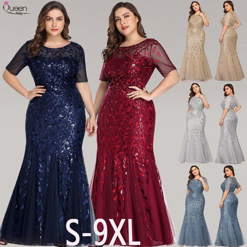 Plus Size Pailletten Abendkleider lange Königin Abby Appliques Mermaid Sexy Spitze Formale Frauen Hochzeit Guest Gowns Party Robe