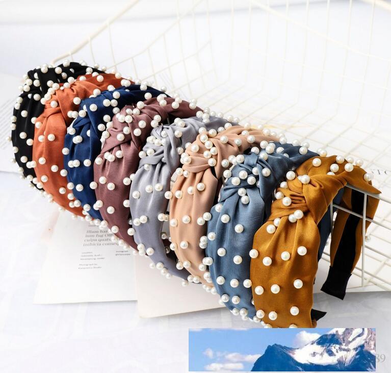 NEW Perlen Stirnband Einfacher geknotete Haar-Band-Kopfschmuck-Bogen-Entwurf Haarband Boutique-Haar-Stöcke Charme-Haar-Zusatz-freies Schiffs