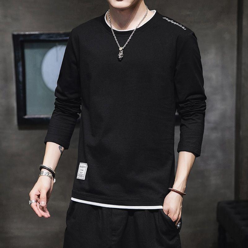 emF6v стройная 2020 новая длинные рукава sweater- мужской случайный хлопок весной и осенью Корейский стиль популярная вокруг шеи базовой футболки T свитер рубашки