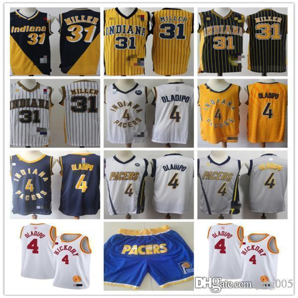ErkeklerinİndianaPacers31 ReggieMiller4VictorOladipoBeyaz Sarı Donanma Basketbol Şort Basketbol Formaları