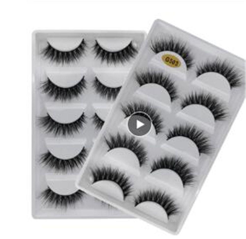 5 paires maquillage naturel à long Cils Faux Cils pleine bande Lashes Vison Cils épais 3d Mink Lashes faux CILS maquillaje