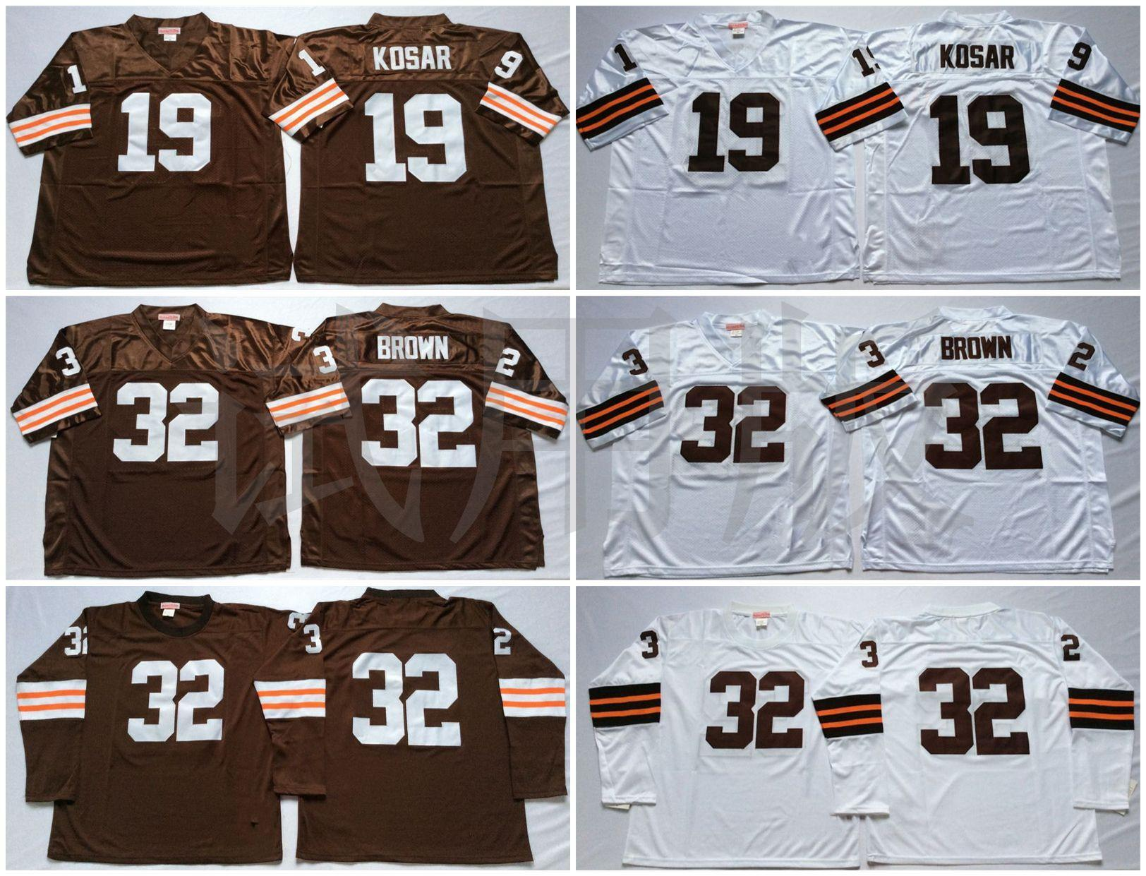 Bernie Kosar Jim Brown White Brown NCAA Football Jerseys High Quality Quick Dry Jersey Men Retro Stitched
