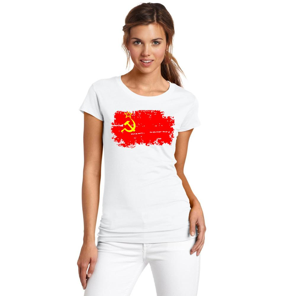 Moda O-collo delle donne T-shirt Bandiera nazionale dell'Unione Sovietica Bianco cotone stampato disegno casuale corto T superiori